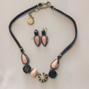 Jewelry - Necklace & earring set pink, black and gold!!